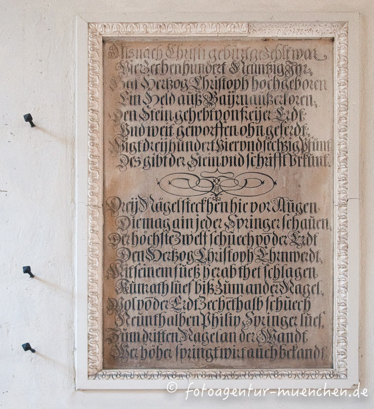 Herzog Christoph, Gedenktafel