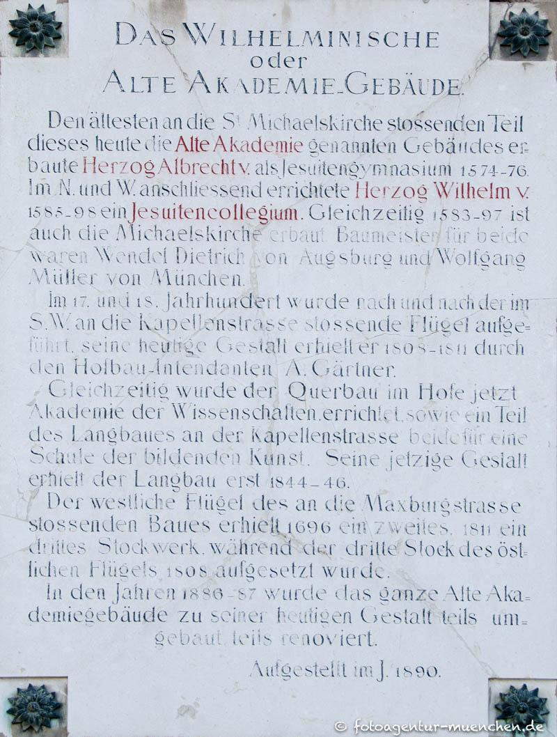 Alte Akademie - Gedenktafel 1