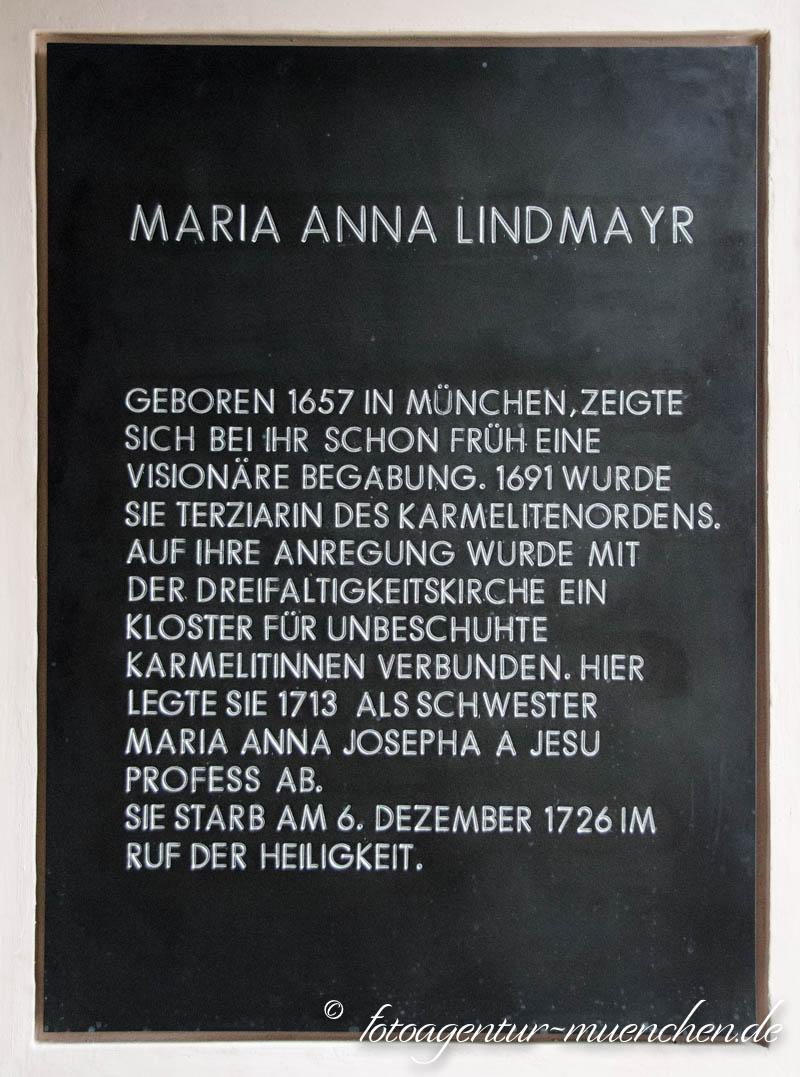 Gedenktafel  - Maria Anna Lindmayr